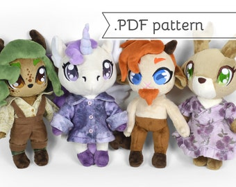 Faun & Anthro Unicorn Deer Goat Doll Plush Sewing Pattern .pdf Tutorial with Cottage Core Clothing