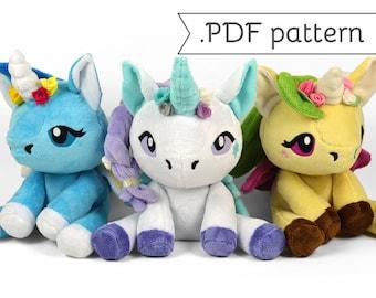 Floppy Unicorn Plush Sewing Pattern .pdf Tutorial Pegasus Pony Alicorn Horse