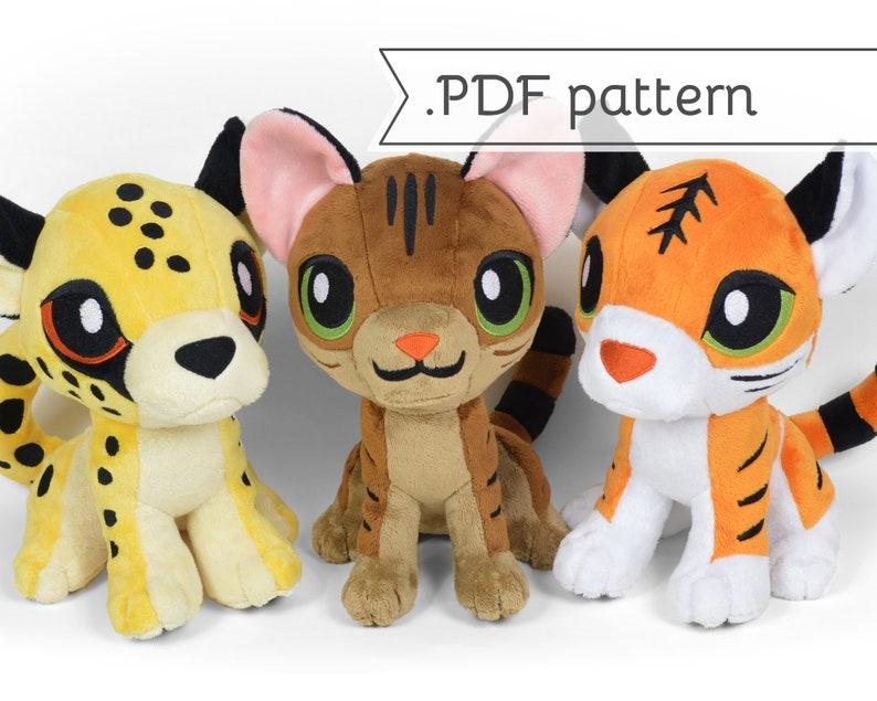 Sitting Kitten & Wildcat Plush Sewing Pattern .pdf Tutorial image 0