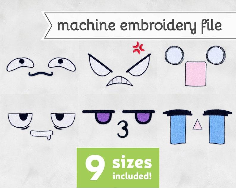 Anime Faces Machine Embroidery File Design for Plush 9 Sizes image 0