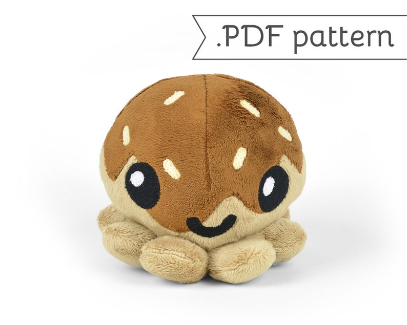 Takoyaki Fried Octopus Ball Plush .pdf Sewing Pattern image 0