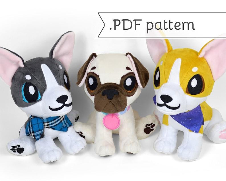 Sitting Puppy Plush Sewing Pattern .pdf Tutorial Corgi Husky image 0