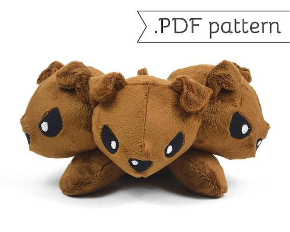 Cerberus Three Headed Dog Monster Fluffy Stuffed Animal Plush Sewing Pattern Pdf Tutorial