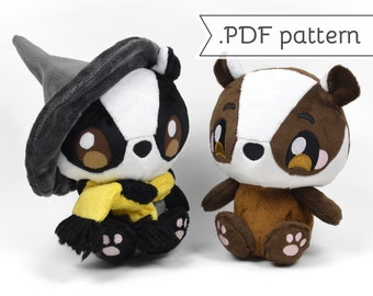 Badger Plush with Scarf & Witch Hat Sewing Pattern .pdf Tutorial Wizard