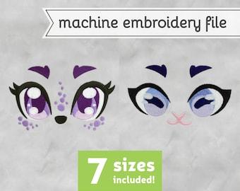 Goat Eyes Machine Embroidery File Design for Plush 7 Sizes