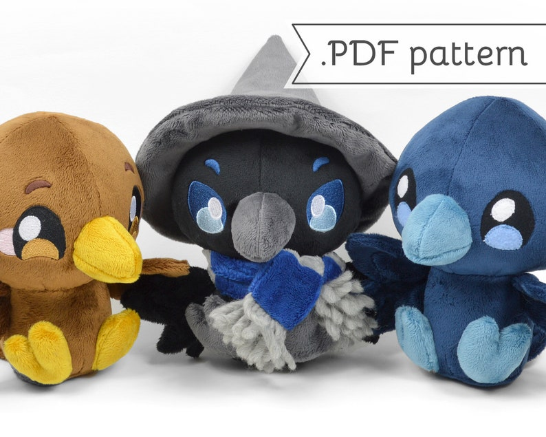 Raven Plush with Scarf & Witch Hat Sewing Pattern .pdf image 0