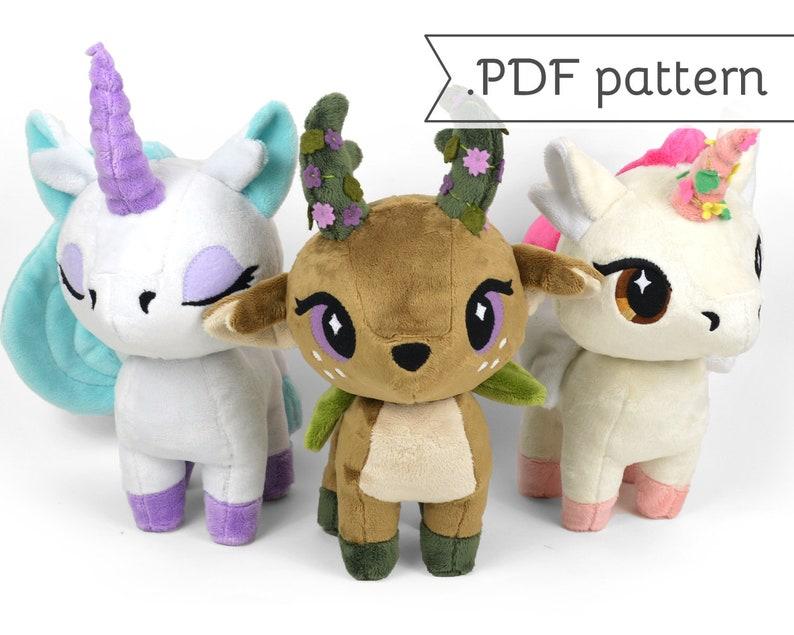 Fawn & Unicorn Chibi Plush Sewing Pattern .pdf Tutorial image 0