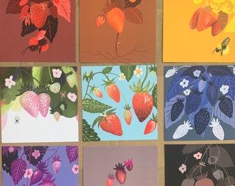 "Rainbows Strawberry Mini Prints, 4""x4"""