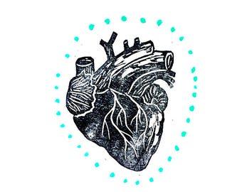 "Anatomical Heart Painting, Home Decor, Neutral Art, Blue Dots, Dark Art, Doctor Gift, Mixed Media Art, 11""x15"""