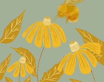 """Bee and Rudbeckia, Print, 8""""x8"""""""