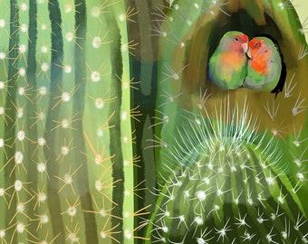 "Cactus Love Birds, Print, 8""x8"""