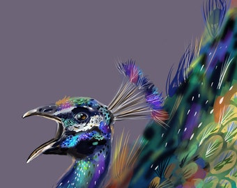 "Proud as a Peacock, Print, 8""x8"""