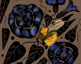 """Bee and Morning Glories, Print, 8""""x8"""""""