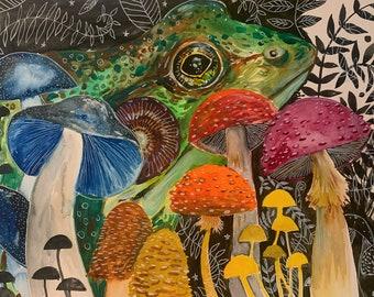 """Frog and Mushrooms, Watercolor Painting, Original Art 11""""x15"""""""