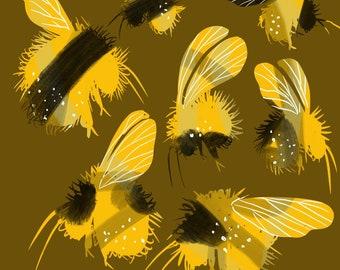 "Bees, Print, 8""x8"""