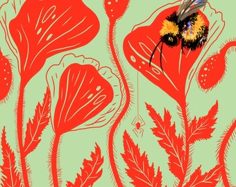 """Bee and Poppies, Print, 8""""x8"""""""