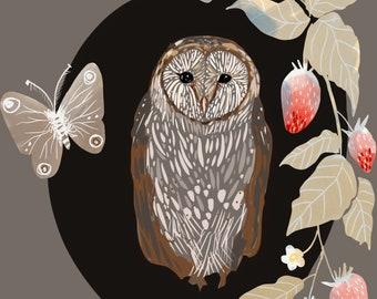 Owl Print, Strawberry art, forest decor, Cottage Core Decor, Print 8x8