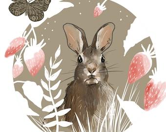 Rabbit Print, Strawberry art, forest decor, Cottage Core Decor, Print 8x8