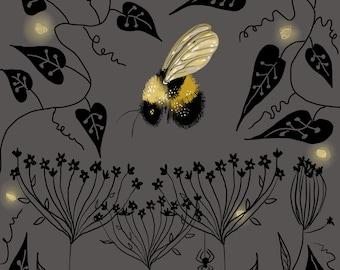 """Bee and Fireflies, Print, 8""""x8"""""""