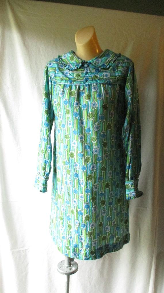 Vintage Dress Handmade Mini Dress Floral Stripe Dr