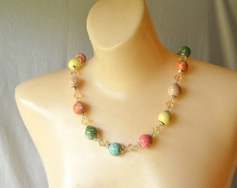 Vintage Necklace Chunky Beaded Necklace Pastel Necklace