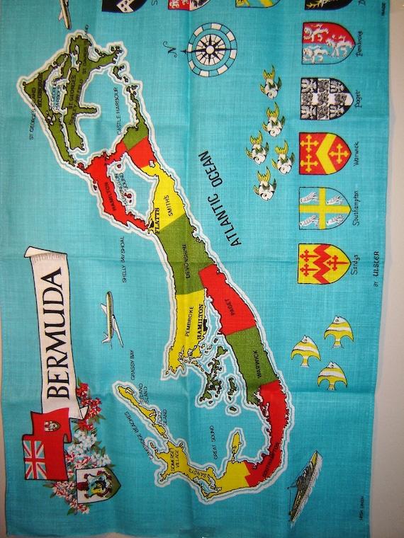 Vintage Bermuda Tea Towel Souvenir Map Of Bermuda Ulster Irish Etsy