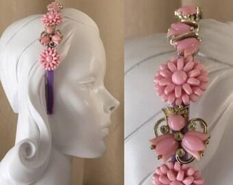 Vintage Pink Floral Jeweled Headband