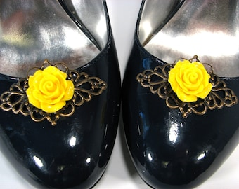 Jet Black Shoe Clips Fancy Filigree Jewelry for your Feet 1 Pair