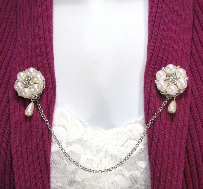 Vintage Style Jewelry, Retro Jewelry Sweater Clip Pearl and Rhinestone Drop Pearl Wedding Shrug Jewelry Collar Clasp Cardigans $20.00 AT vintagedancer.com