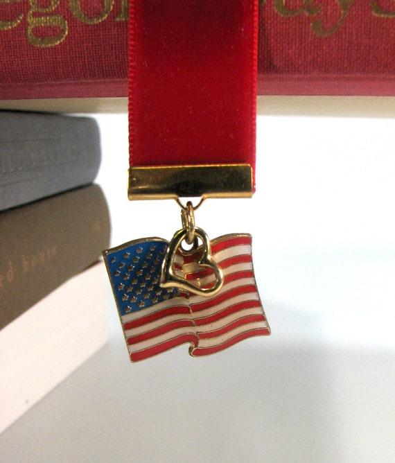 Upcycled nastro segnalibro patriottica bandiera americana  63d5dae9b2ac