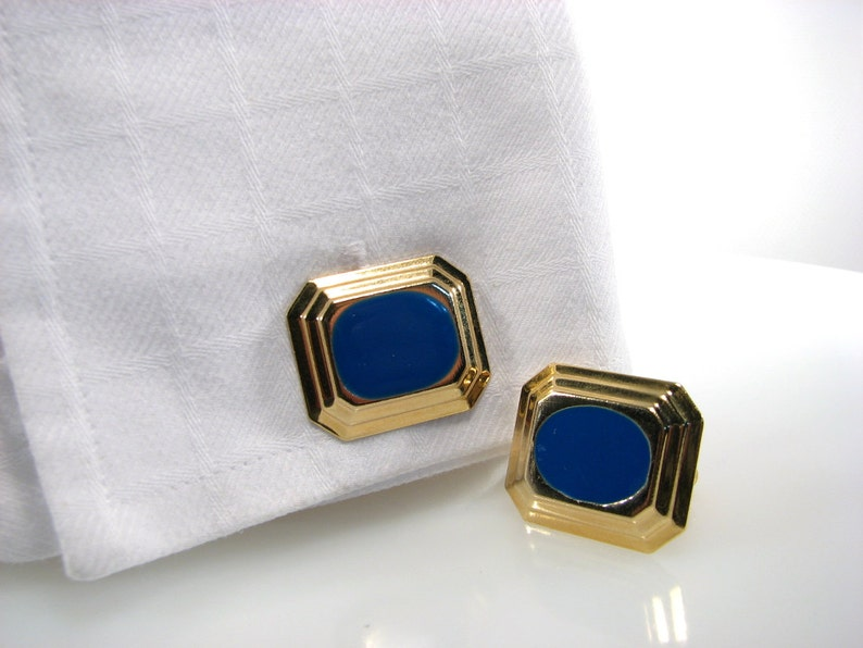 Cufflinks Blue Framed in Gold Classy Look Octagon Cuff Links for Men