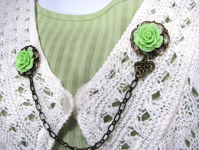 Sweater Clip Lime Green Rose Filigree Heart Charm for your Bolero Shrug Collar Clip Cardigan Guard 12 Color Choices