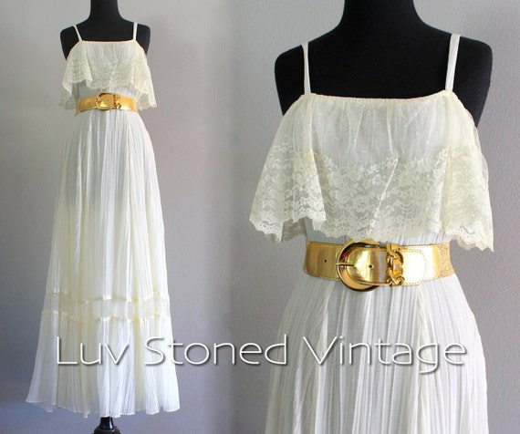70s Vintage Lace Pleated Bohemian Boho Hippie Wedding Bridal Beach Ethereal  Maxi Prom Dress | SM | 1053 7 30 15 | hanger