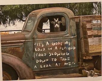 Funny Goat Art Print, Goat in a Truck, Farmhouse Wall Art, Country Home Decor, Whimsical Goat Art Decor, Rustic Home Decor, Farm Animal art