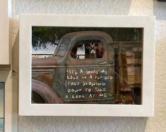 Goat art print, Goat in a truck farmhouse decor, Framed art print, Country home gift, Goat decor, Rustic home, Farm animal, Rustic truck