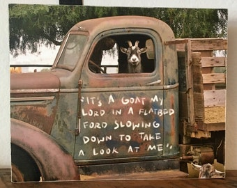 Funny Goat art print, Goat in a truck farmhouse wall art, Country home decor, Goat decor, Rustic home decor,Farm animal, Rustic truck photo