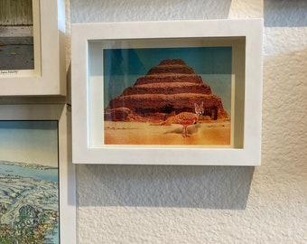 Cat Art, Surreal Photocollage, Desert Fantasy In Encient Egypt, Birdcat hybridAnimal wall art, Animal Surrealism, 5x7 Framed print,
