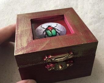 Egyptian Scarab Ring Box, Engagement Ring Box, Wooden Mystery Box, Entemologist Gift with Beetle Illustration, Ring Storage, Keepsake box