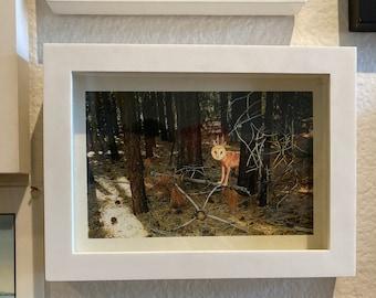 Fantasy Owl Art, Woodland art, Owl and Wolf Hybrid, Surreal Art, Country house decor, Animal wall art, Animal Surrealism, 5x7 Framed print,