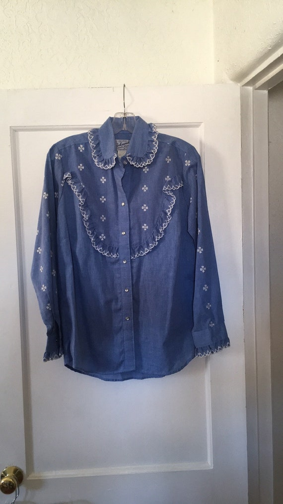 Rockmount Ranch Wear Tru-West Size 36 Denim and Ru