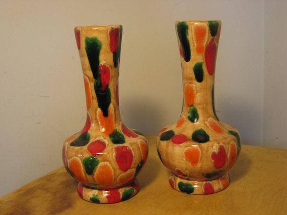 Functional Happy Vintage Mid Century Vases Glazed Pottery Etsy