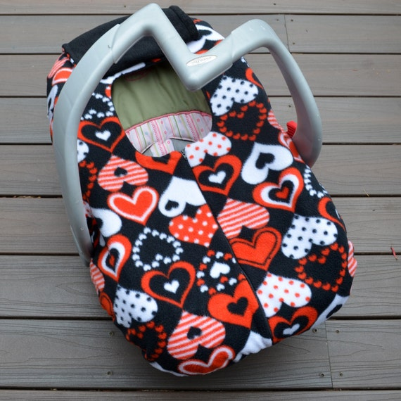 Hearts Car Seat Cover In Red Black And White Winter