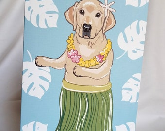Hula Yellow Labrador Retriever Greeting Card