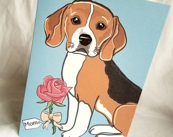 Rose Beagle - Customized with Your Name Choice - Greeting Card