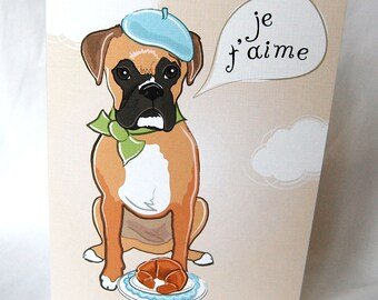 French Boxer Dog Greeting Card