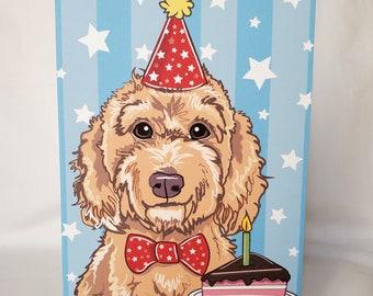 set of 5 Golden Doodle Birthday Card
