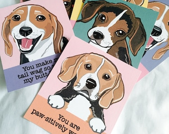 Beagle Valentines - Mini Eco-friendly Set of 6