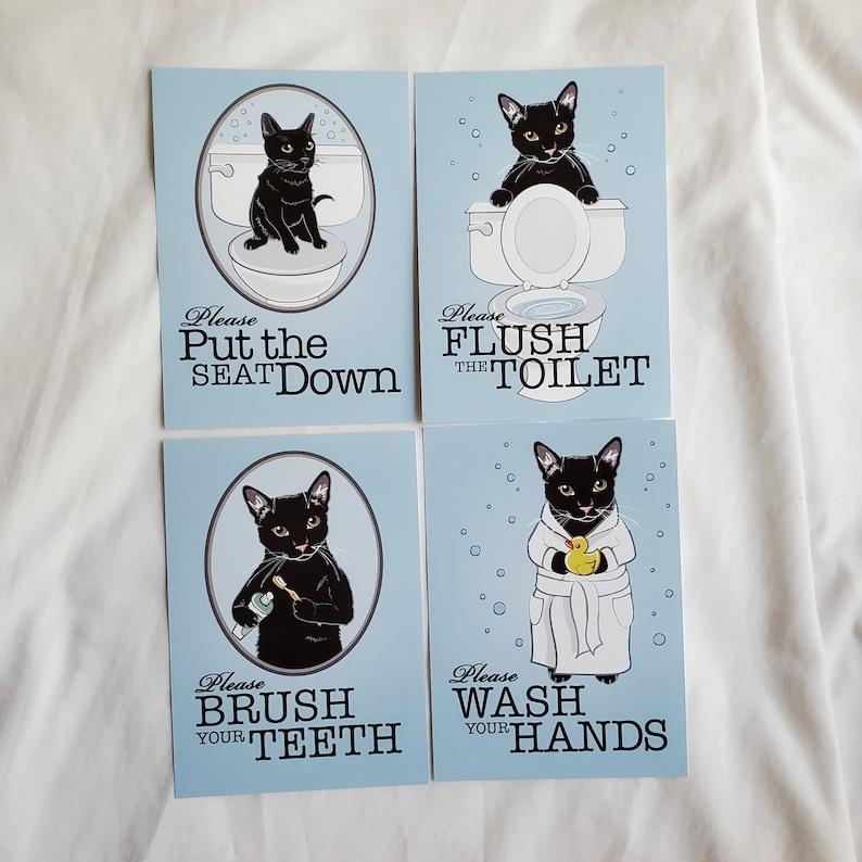 5x7 Set of 4 Black Cat Bathroom Prints