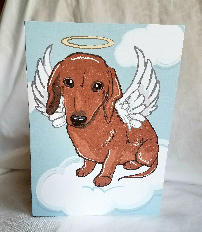 Angel Dachshund Greeting Card Etsy