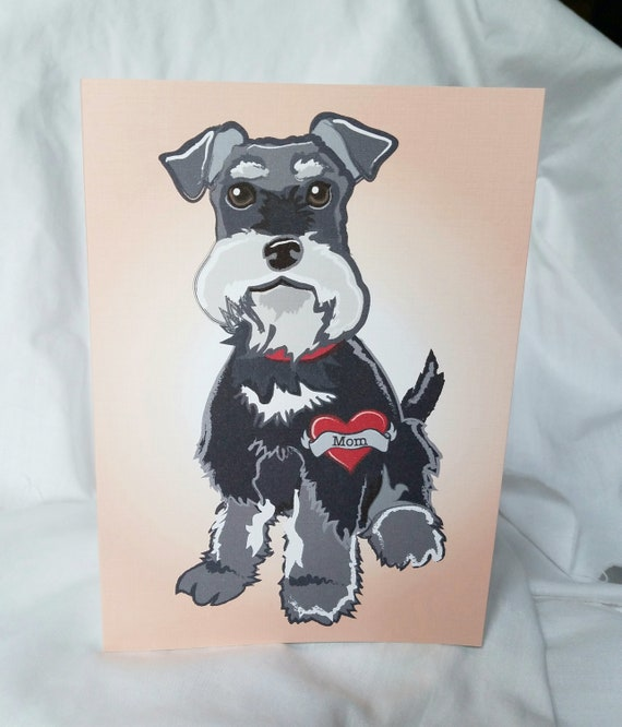 Custom schnauzer tattoo greeting card etsy image 0 m4hsunfo